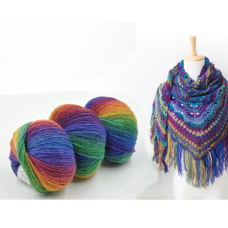 5 Balls 250g Melange Wool Yarn For Hand Knitting Colorful