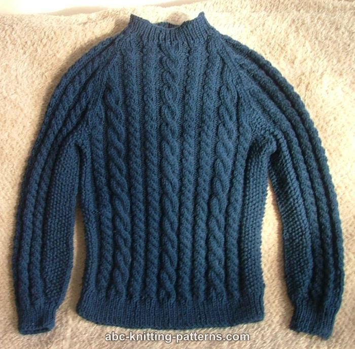ABC Knitting Patterns Cable Raglan Sweater for a Boy