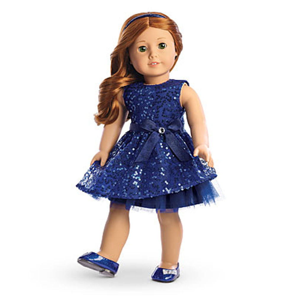 """American Girl MY AG HAPPY HOLIDAY DRESS for 18"""" Dolls Blue"""