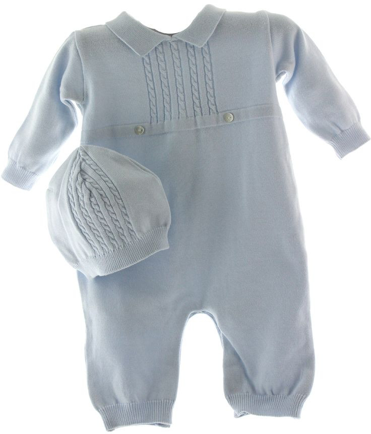 Fresh Baby Boys Blue Knit Long Sleeve Romper & Hat Set Knitted Baby Romper Of Amazing 42 Ideas Knitted Baby Romper