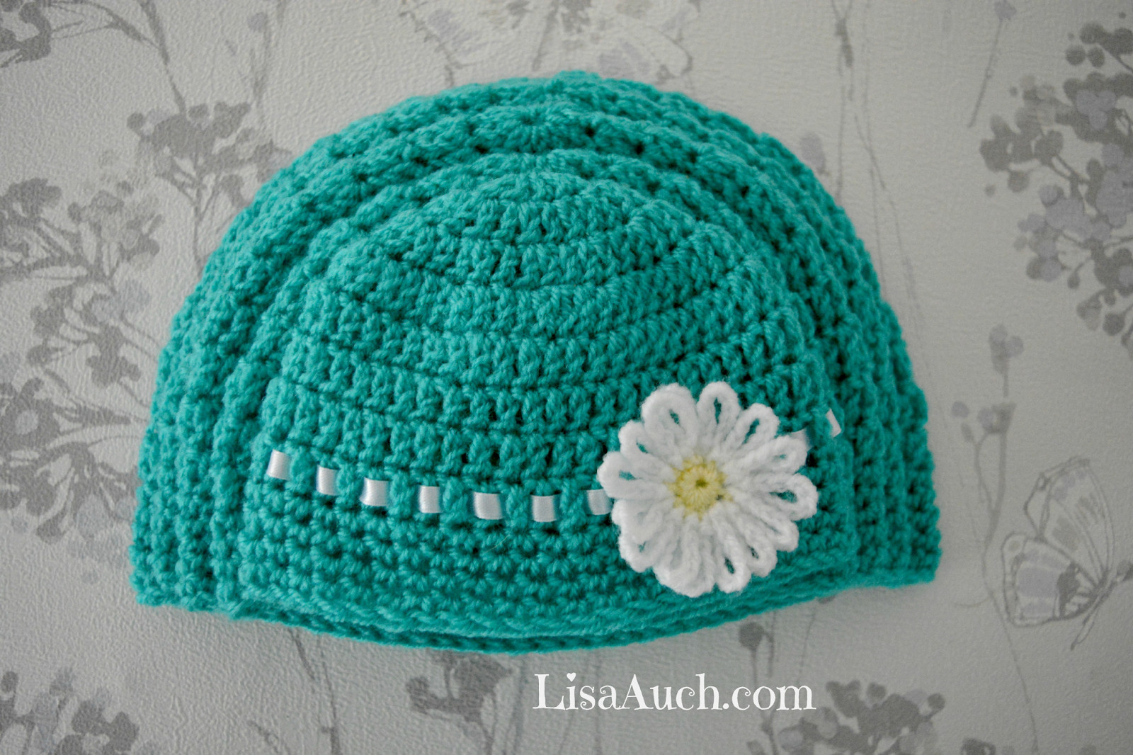 baby girl crochet hats with flowers free patterns