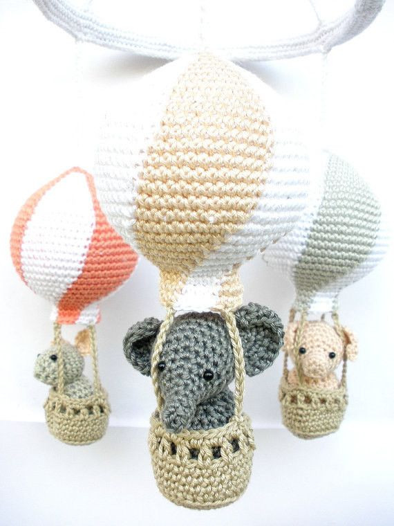 Fresh Baby Girl Nursery Mobile with Peach Coral and Gray Hot Air Crochet Baby Mobile Of Amazing 42 Ideas Crochet Baby Mobile