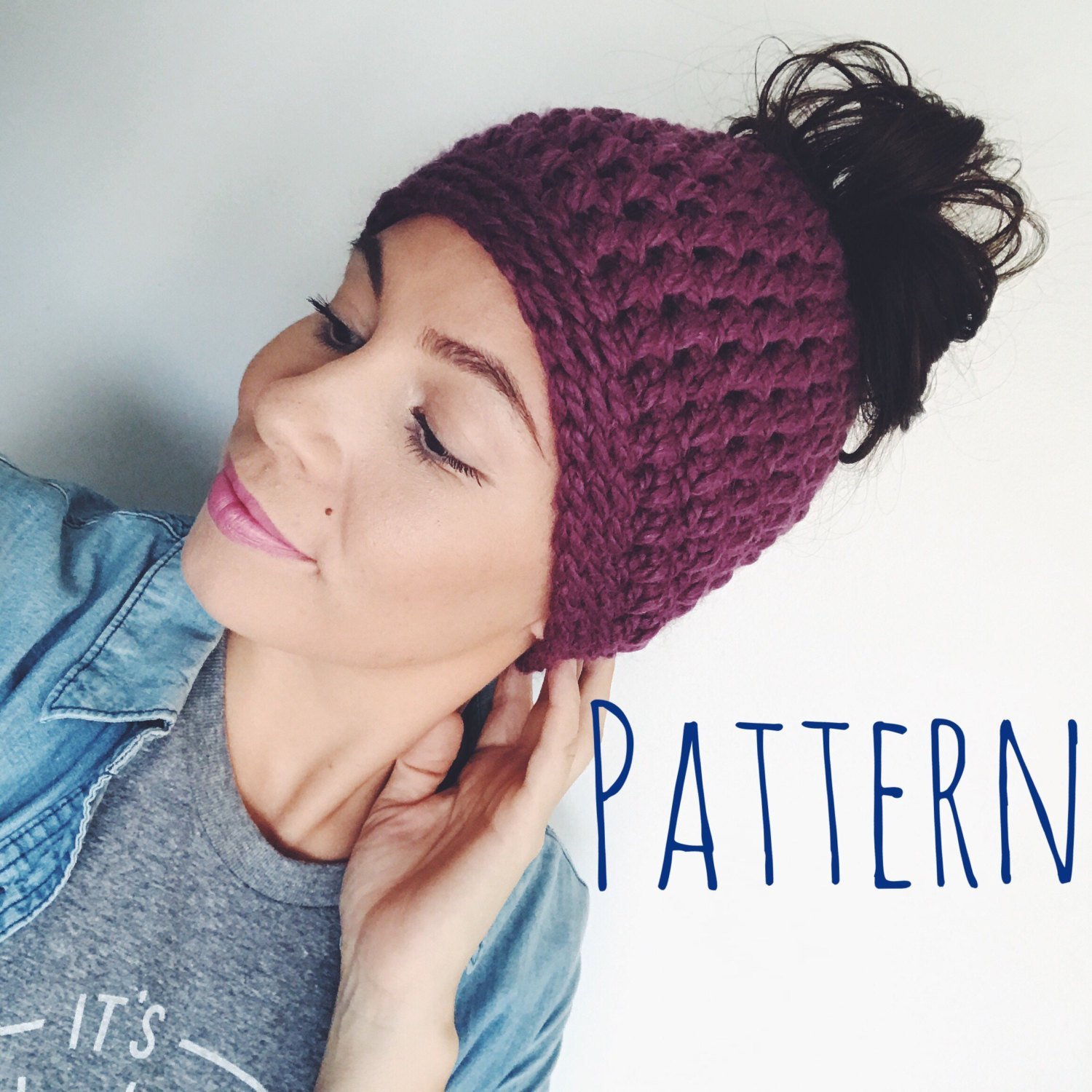 Bun Hat Crochet Pattern Bun Beanie Pattern Messy Bun Hat Messy