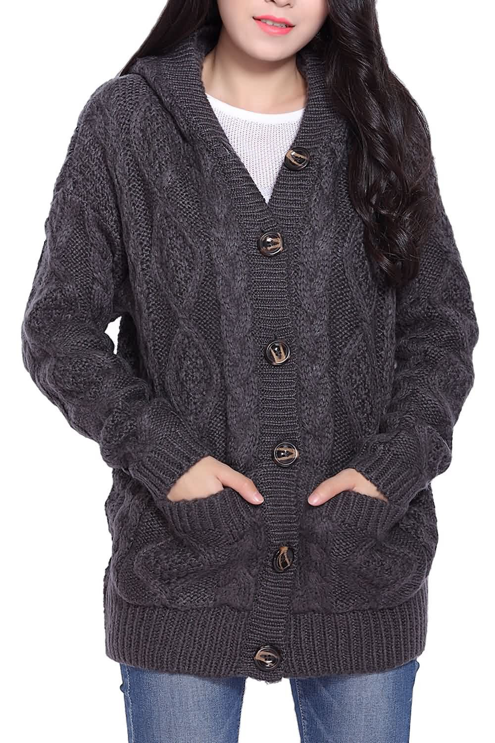 Fresh button Up Cable Knit Hooded Cardigan In Deep Gray Cable Knit Cardigan Sweater Of Wonderful 46 Models Cable Knit Cardigan Sweater