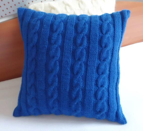 Fresh Cable Knit Royal Blue Knitted Pillow Cover Throw Pillow Hand Cable Knit Throw Pillow Of Great 48 Ideas Cable Knit Throw Pillow