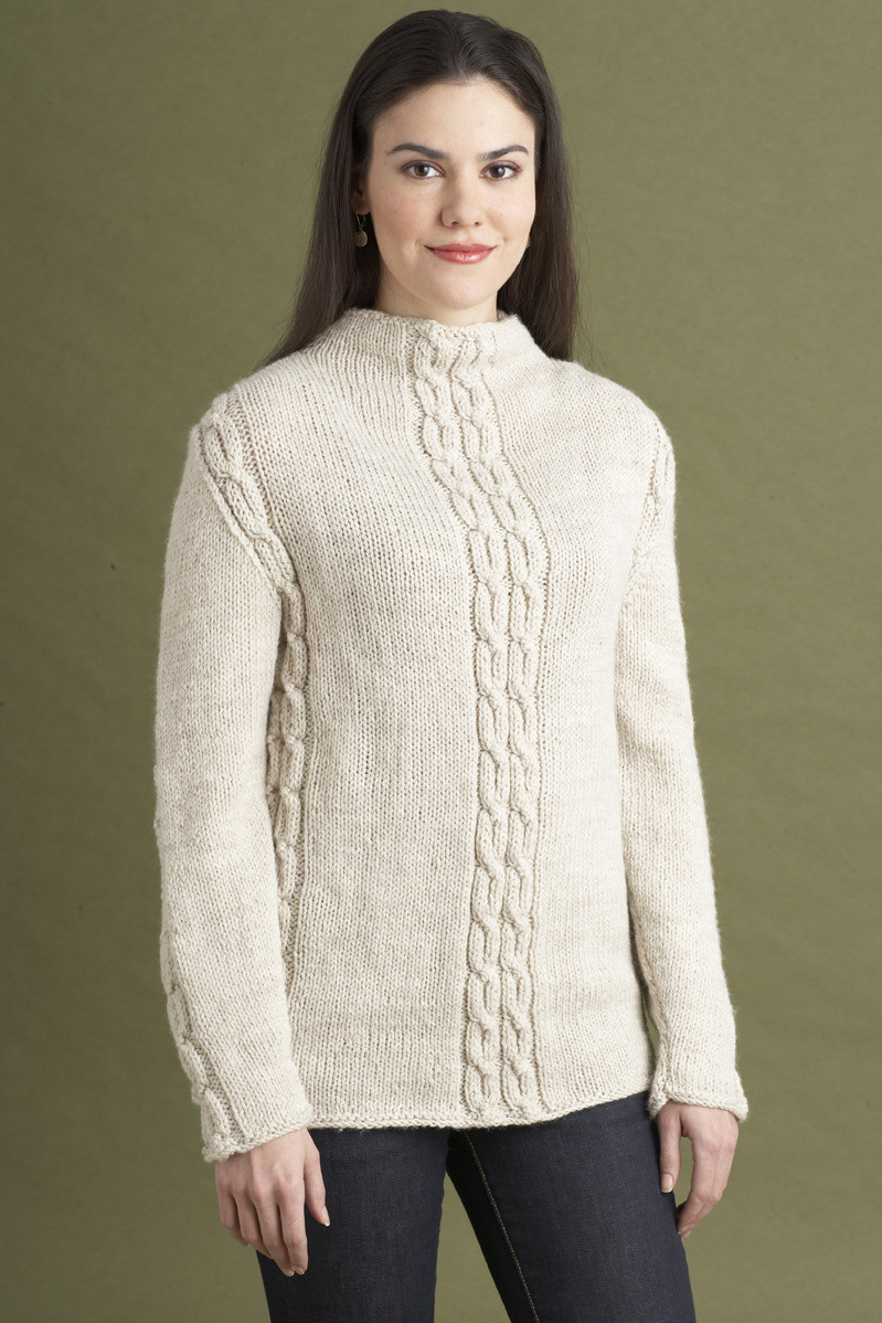 Cabled Sweater in Lion Brand Wool Ease AD