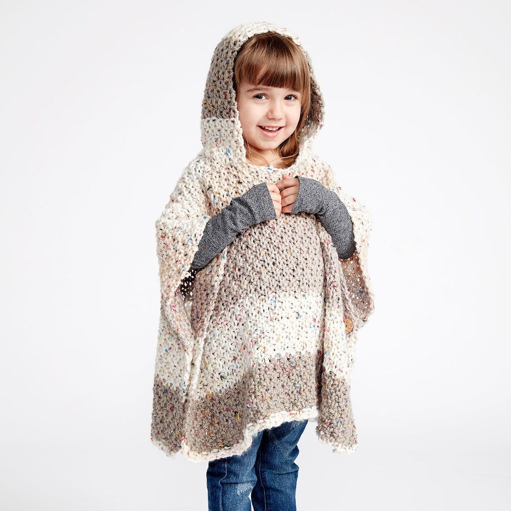 Caron Sprinkle Cakes™ Hooded Girls Knit Poncho