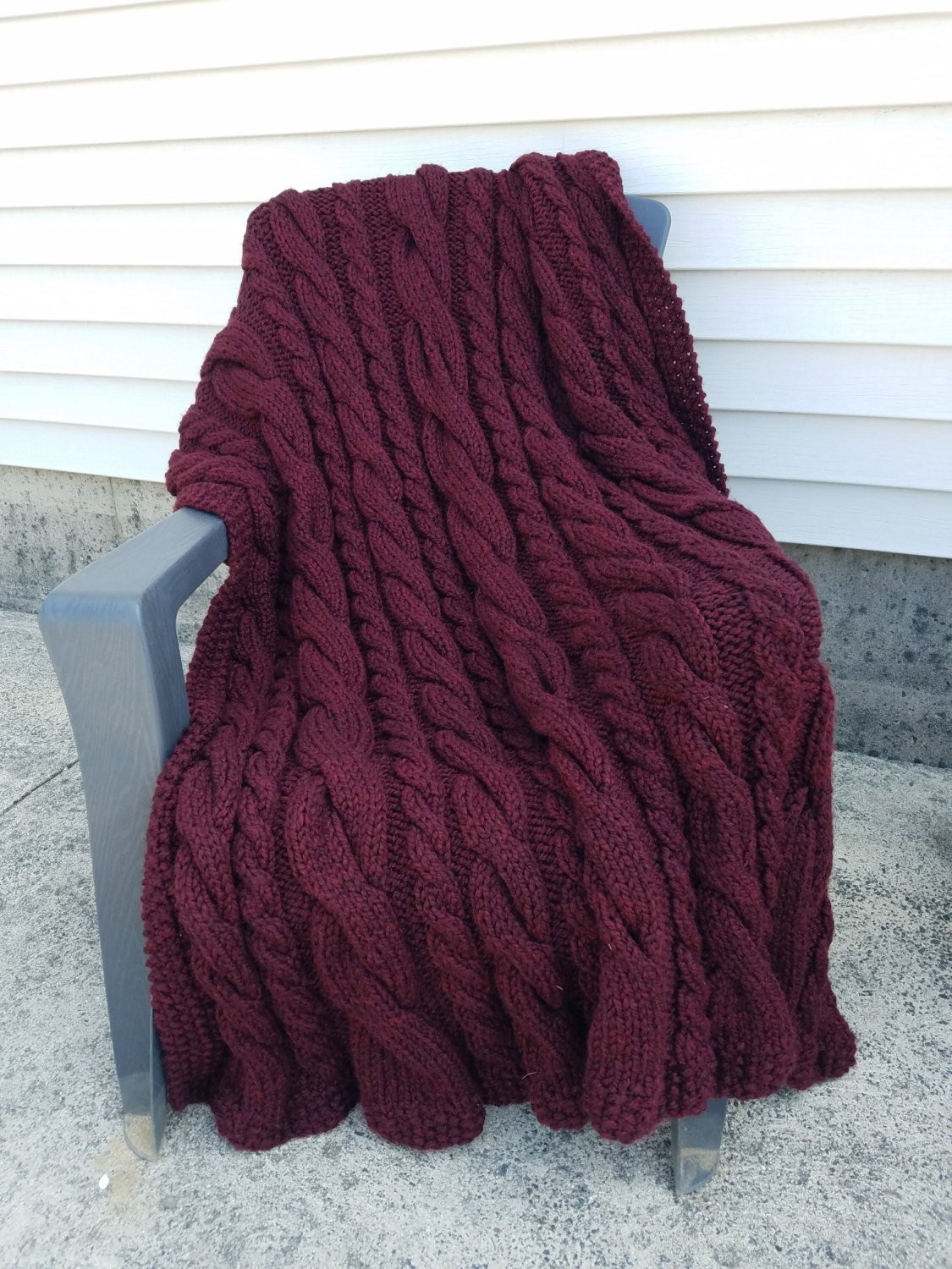 Fresh Chunky Hand Knit Cable Afghan Throw Blanket Deep Red Chunky Cable Knit Throw Of New 48 Images Chunky Cable Knit Throw
