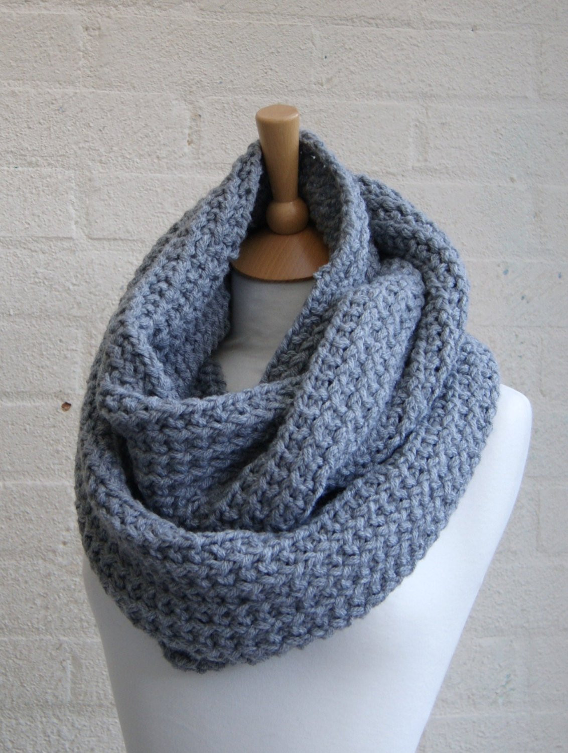 Fresh Chunky Knit Gray Infinity Scarf Knitted Grey by Stripesncables Chunky Knit Scarf Of Top 50 Photos Chunky Knit Scarf