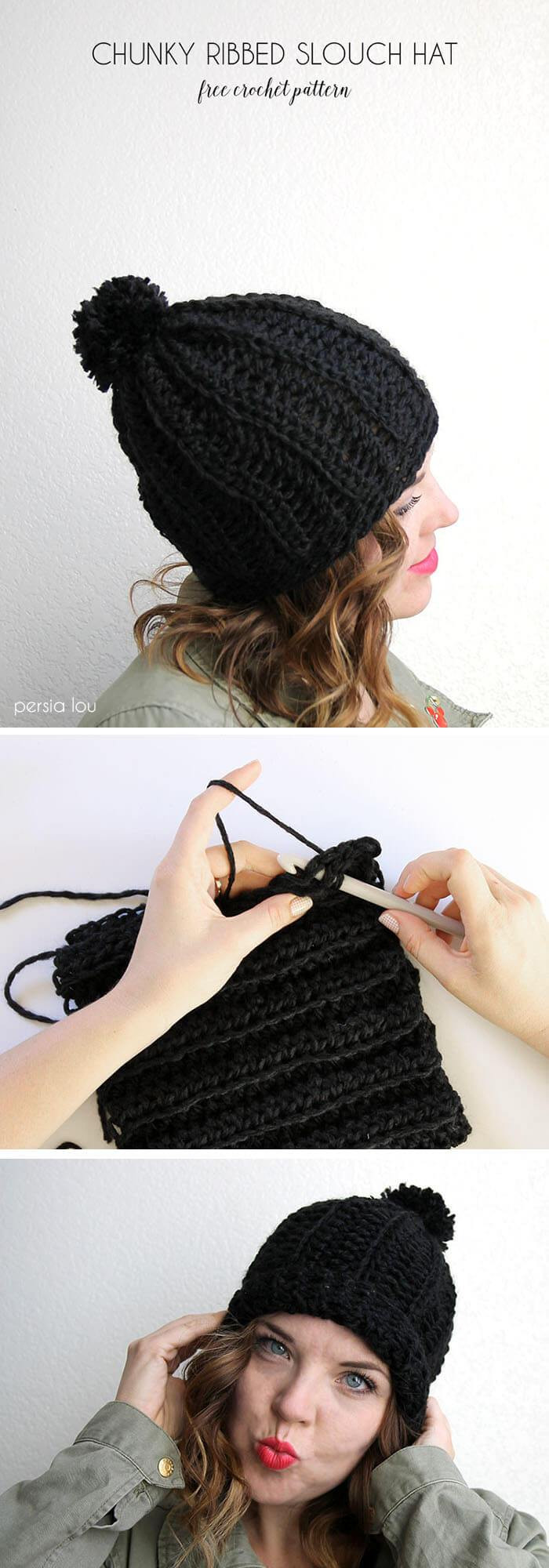 Fresh Chunky Ribbed Slouch Hat – Free Crochet Pattern Chunky Crochet Hat Of Awesome 45 Models Chunky Crochet Hat
