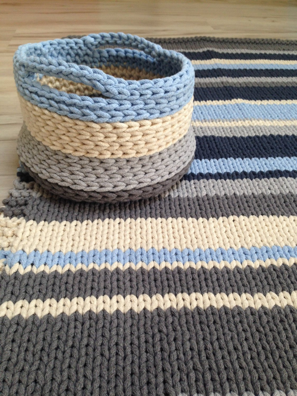 Fresh Cotton Set Chunky Rug and Basket Hand Knitted Rag Rug Hand Crochet Rug Of Contemporary 41 Models Hand Crochet Rug