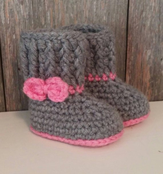 Fresh Crochet Baby Ugg Boots Gray Baby Uggs W Pink Bow Baby Crochet Ugg Of New 40 Ideas Crochet Ugg