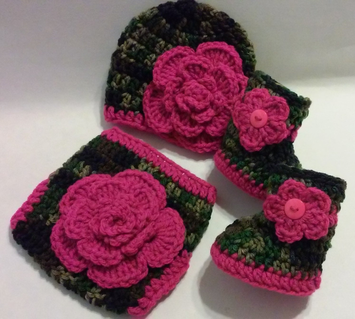 Crochet Camo Diaper Cover Set Hot Pink Flowers Beanie Hat