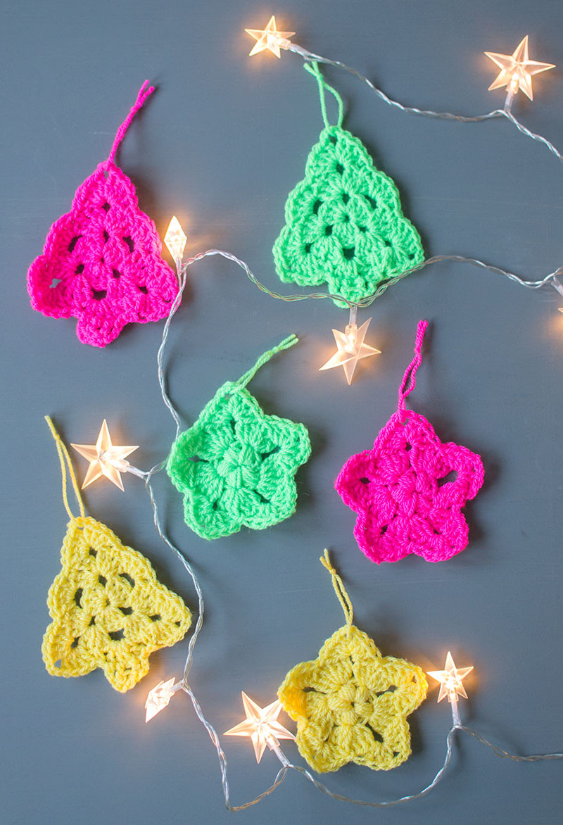 Crochet Christmas Tree And Star Ornaments Let s Do