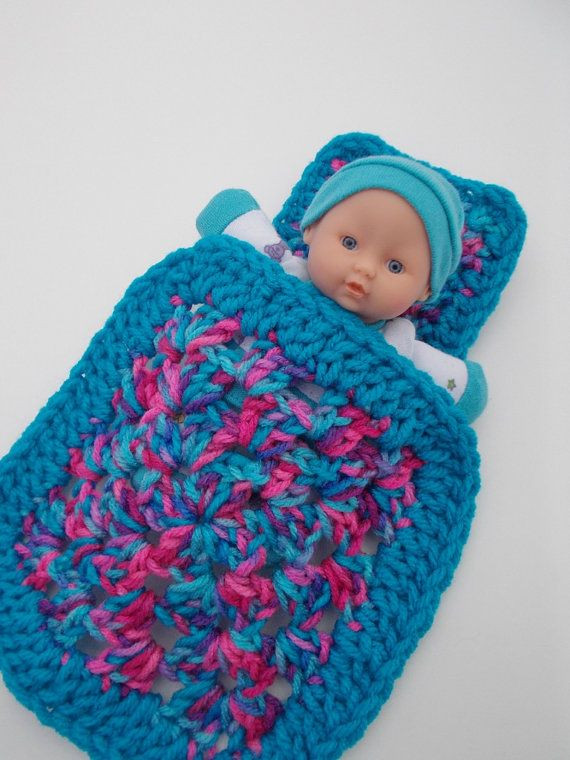 Crochet Cradle Purse Baby Doll Blanket and Pillow
