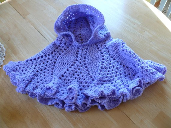Crochet Hooded Poncho Size 2