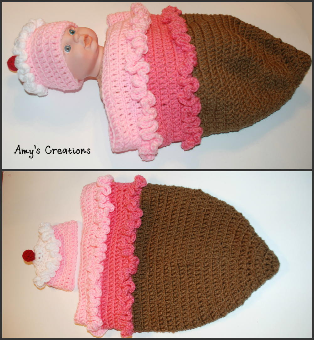 Crochet Ice Cream Cone Cocoon and Hat
