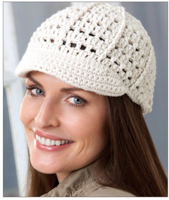 Crochet newsboy brimmed hat cozy summer fall winter