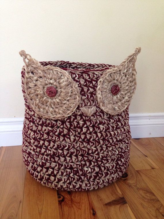 Fresh Crochet Owl Basket In Neutral with Wine Color Accent Crochet Owl Basket Of Brilliant 47 Photos Crochet Owl Basket