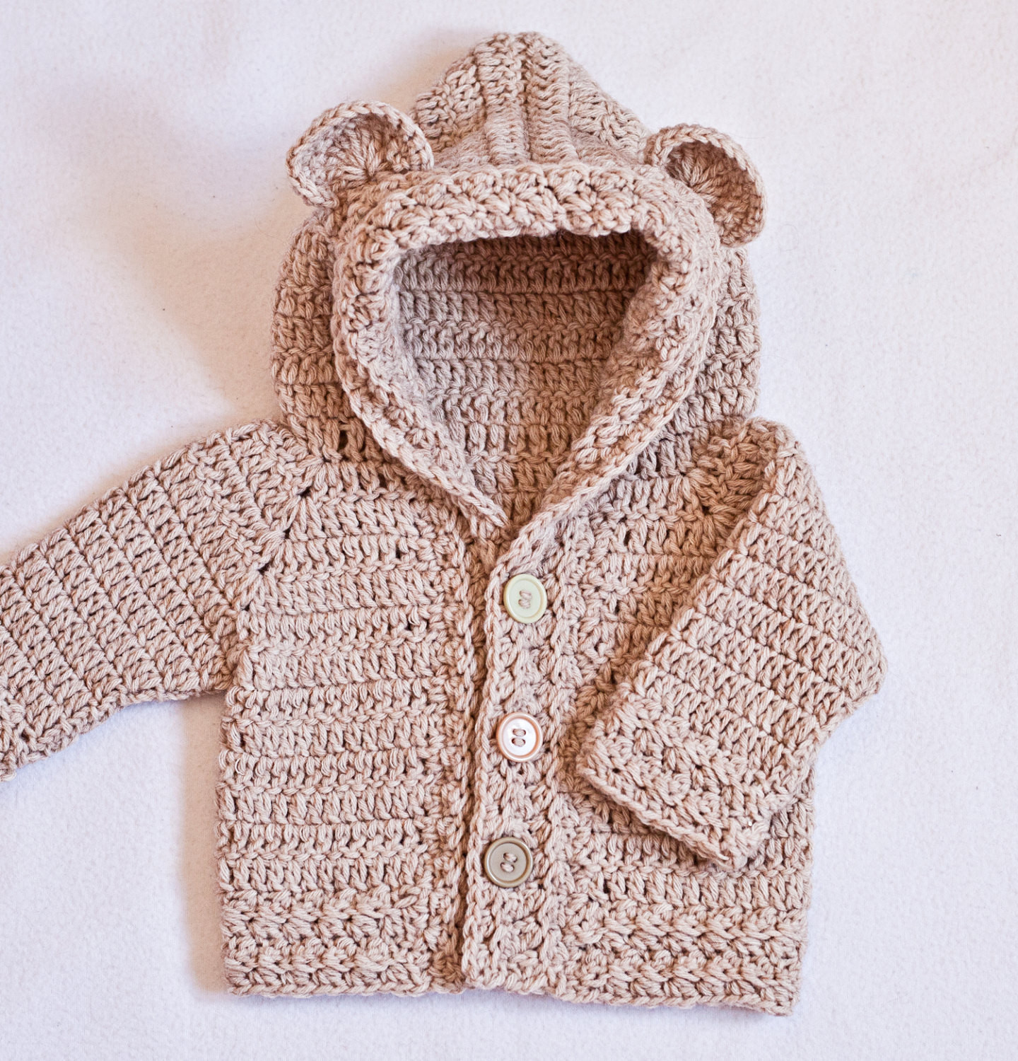 Crochet PATTERN Bear Hooded Cardigan sizes baby up to 8