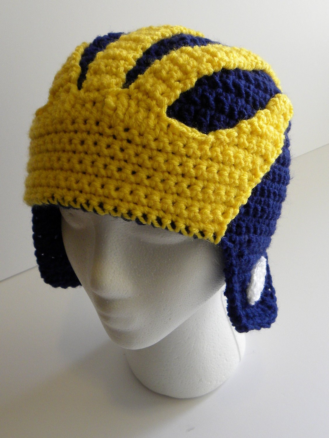 Fresh Crochet Pattern Michigan Wolverines Helmet Hat W Permission to Crochet Football Helmets Of Lovely 48 Pics Crochet Football Helmets