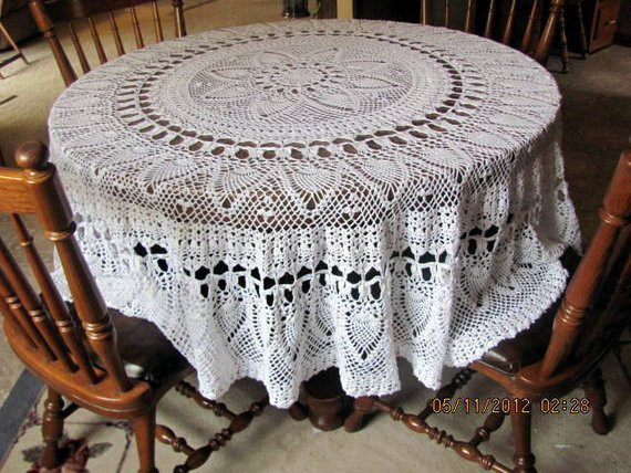 Crochet Pineapple Round Tablecloth 80 FREE