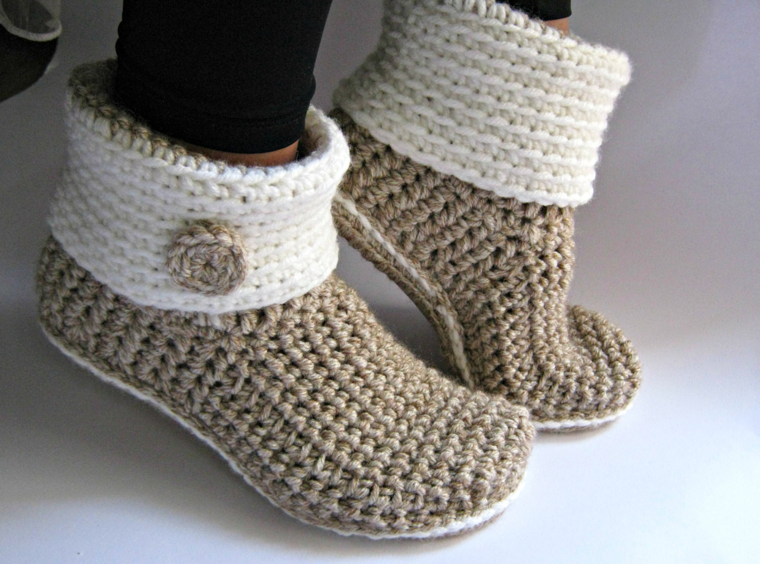 Crochet Slipper Boots with Eco Leather Soles Women Slippers