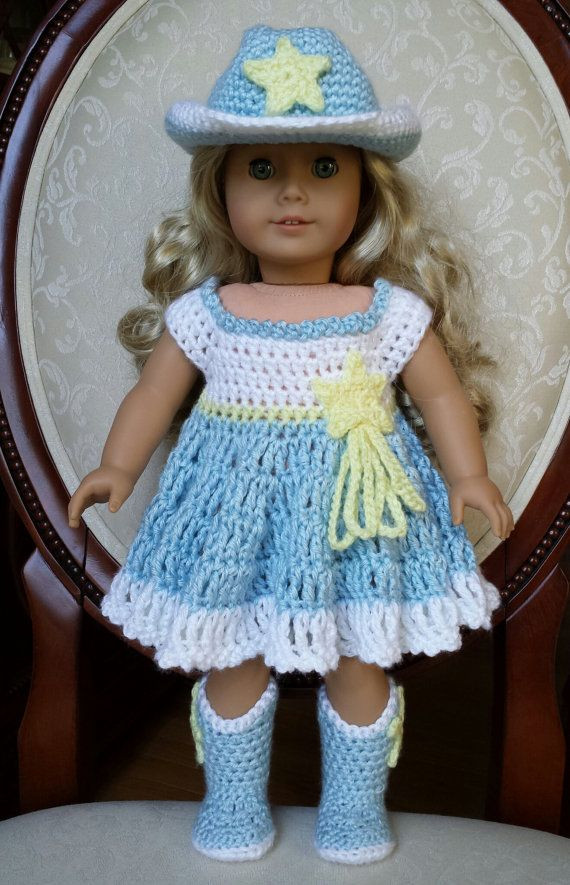 """Fresh Crocheted American Girl 18"""" Doll Cowgirl Western Cowboy Free Crochet Patterns for American Girl Dolls Clothes Of Adorable 50 Pictures Free Crochet Patterns for American Girl Dolls Clothes"""