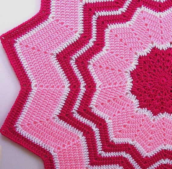 Fresh Crocheted Baby Afghan Round Ripple Blanket Pink Round Afghan Crochet Pattern Of Great 44 Photos Round Afghan Crochet Pattern
