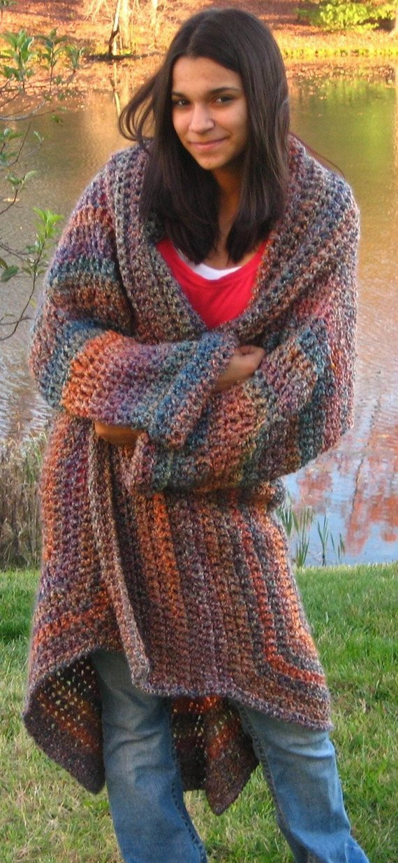 Fresh Crocheted Sweater Coat In Painted Desert E Size Fits Most Crochet Jackets Patterns Of Top 44 Photos Crochet Jackets Patterns