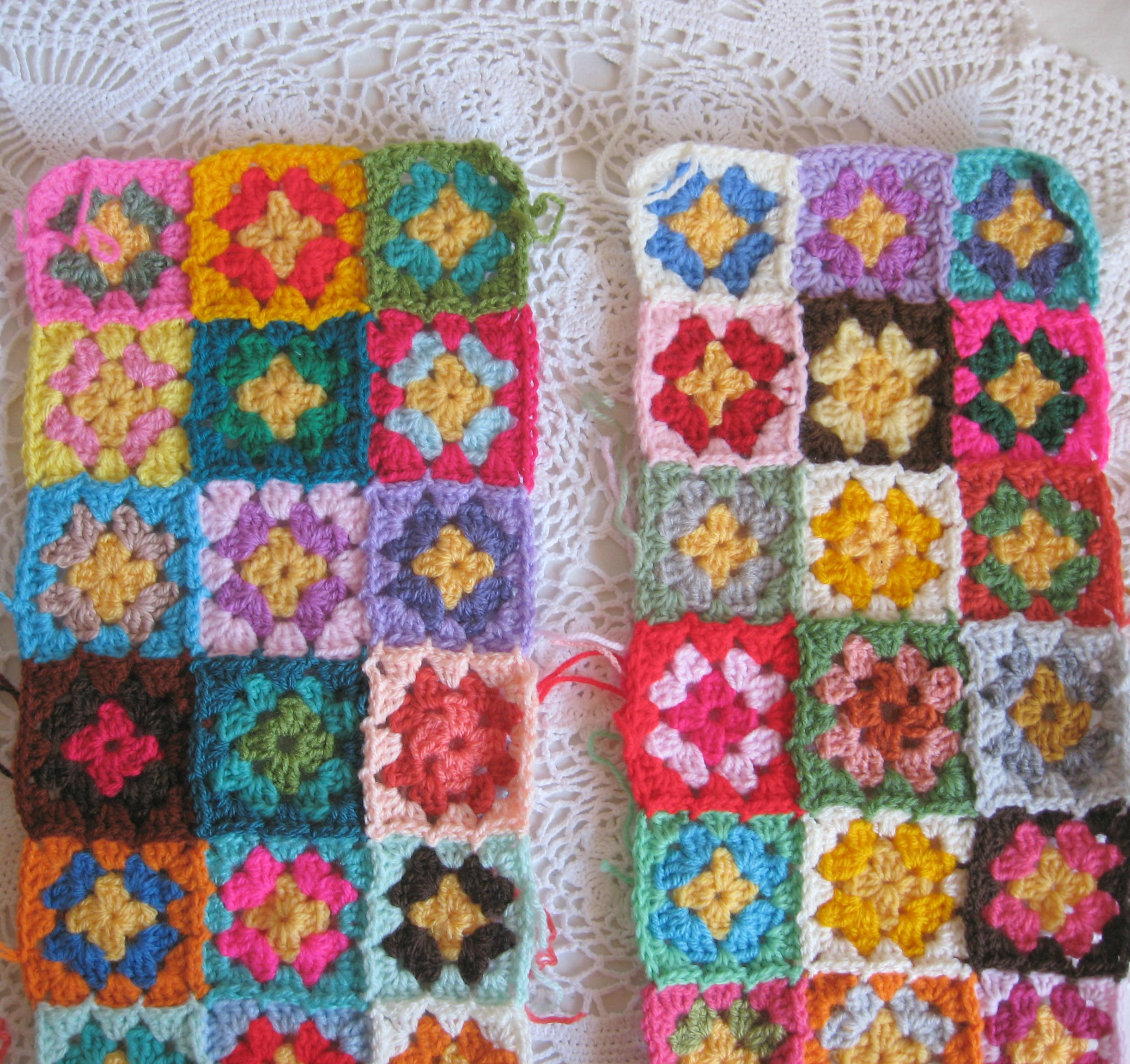Crocheting to her the granny square patches and
