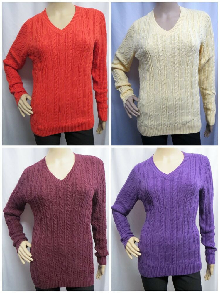 CROFT & BARROW Cable Knit V neck Long Sleeve Sweater