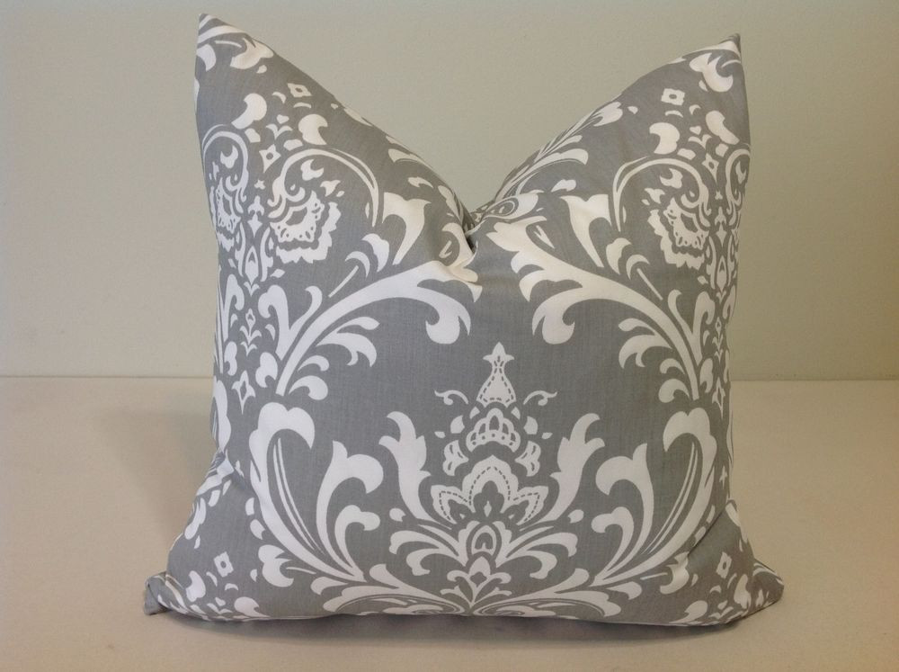 Decorative Throw Pillow Cover Gray and white cushion