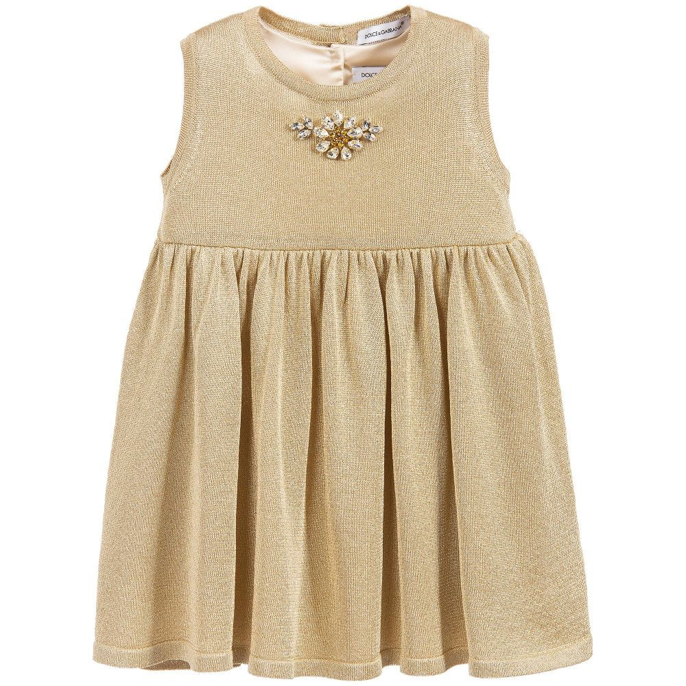Fresh Dolce & Gabbana Baby Girls Gold Knitted Lurex Dress Baby Girl Knitted Dress Of Incredible 47 Photos Baby Girl Knitted Dress