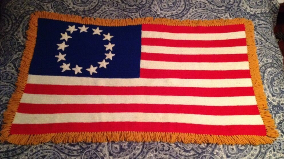 Fresh ☆vintage☆ American Flag 13 Colony Patriotic Usa Crocheted American Flag Crochet Blanket Of Gorgeous 42 Ideas American Flag Crochet Blanket