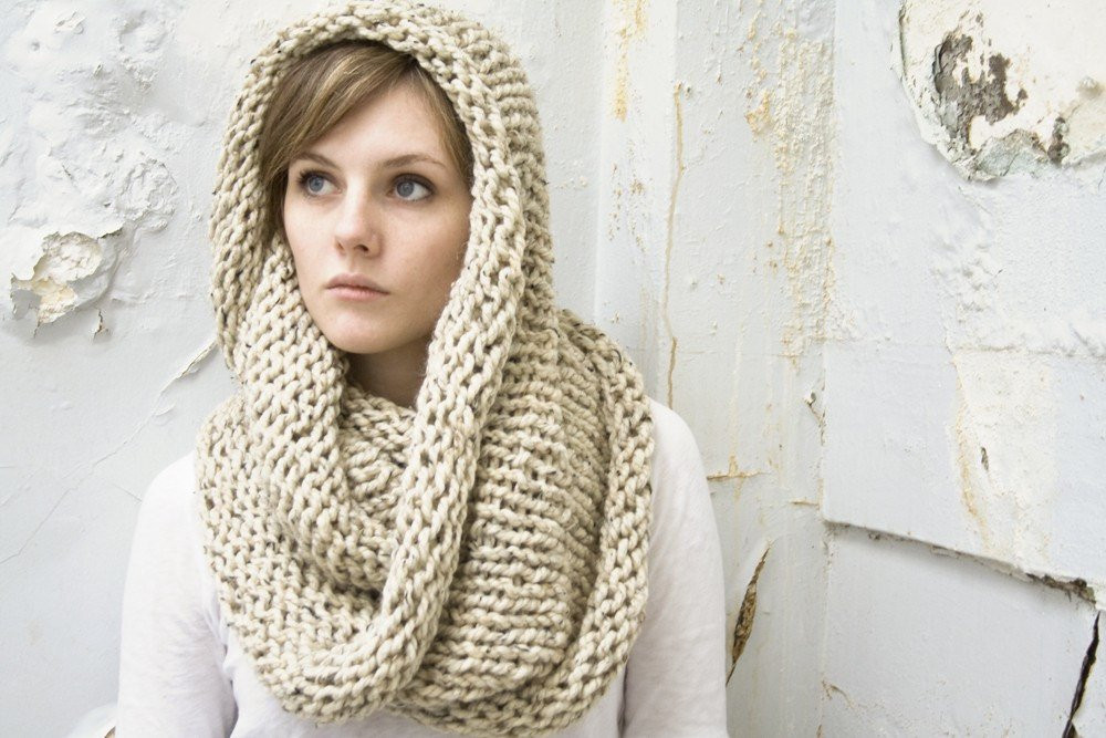 Extra Thick Cozy Cowl Circle Scarf in Oatmeal READY by
