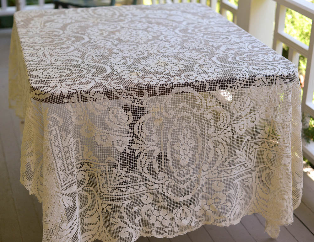 Filet Crochet Tablecloth Vintage Lace Tablecloth 80 by