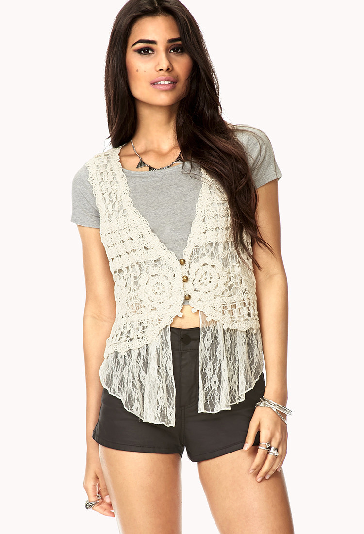 Forever 21 Layered Crochet Lace Vest in Beige Cream
