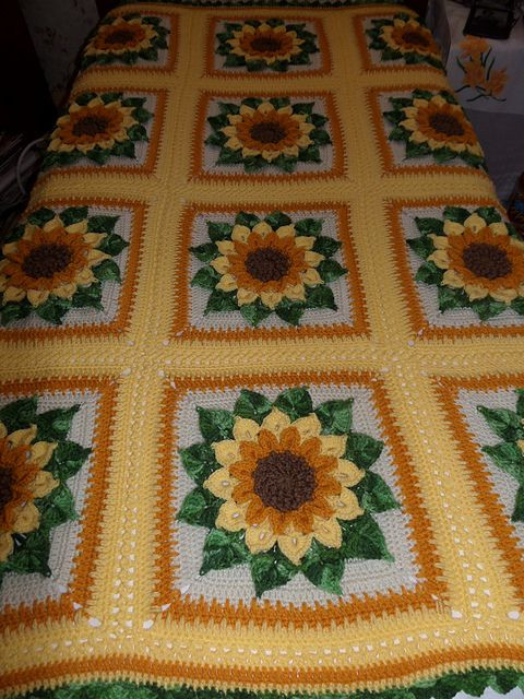 Fresh Free Crochet Pattern Sunflower Afghan Dancox for Sunflower Crochet Blanket Of Elegant Hand Crocheted Sunflower Granny Square Blanket Afghan Throw Sunflower Crochet Blanket