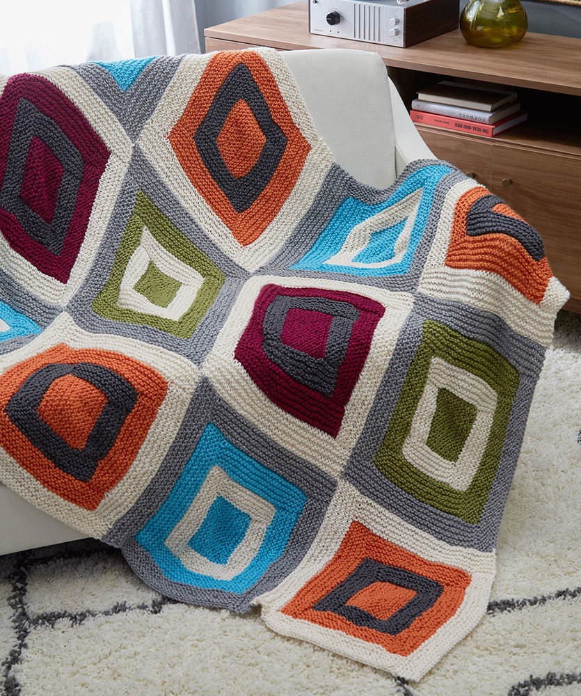 Fresh Free Knitting Pattern for A Color Blocks Throw ⋆ Knitting Bee Knitted Square Patterns Of Lovely 50 Models Knitted Square Patterns
