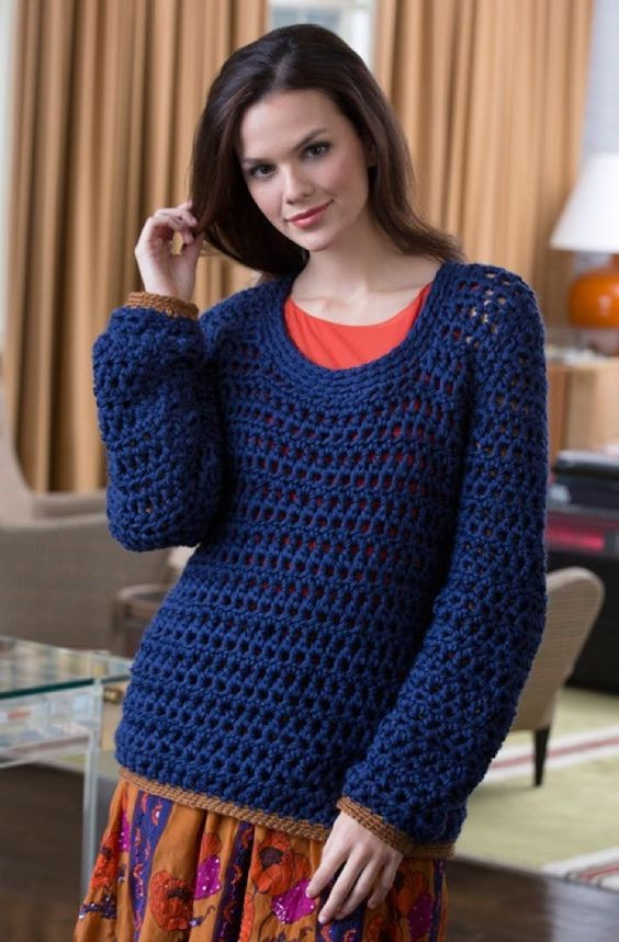 Free Pattern Summer Night Sweater in Red Heart Soft