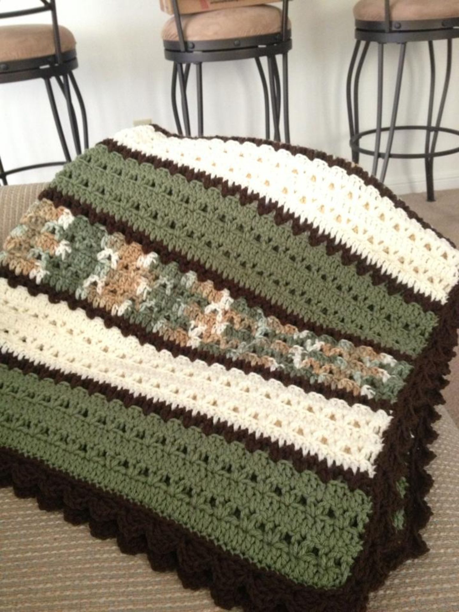 Fresh Green White and Brown Blanket In Double Crochet and V Double Crochet Afghan Of Fresh 42 Images Double Crochet Afghan