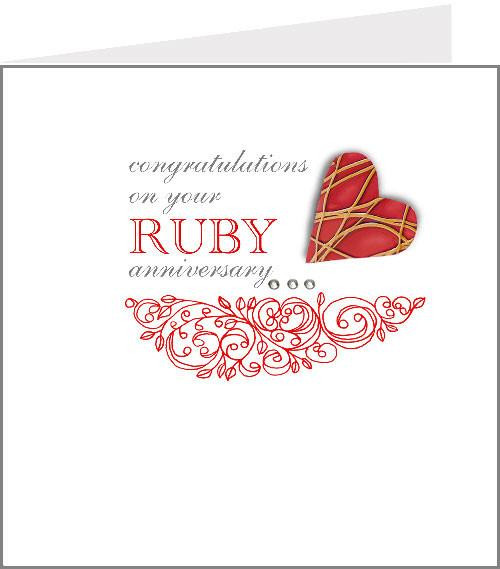 Hopscotch Heart Ruby anniversary card – Valerie Valerie