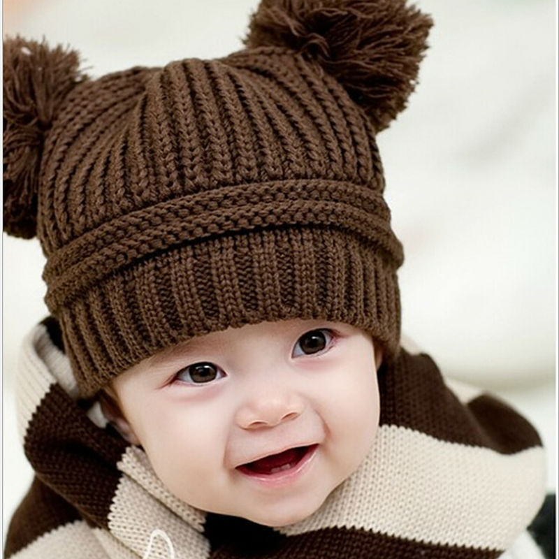Fresh Hot Sale Baby Kids Dual Ball Knit Sweater Cap Hats Winter Infant Knit Hat Of Beautiful 48 Photos Infant Knit Hat