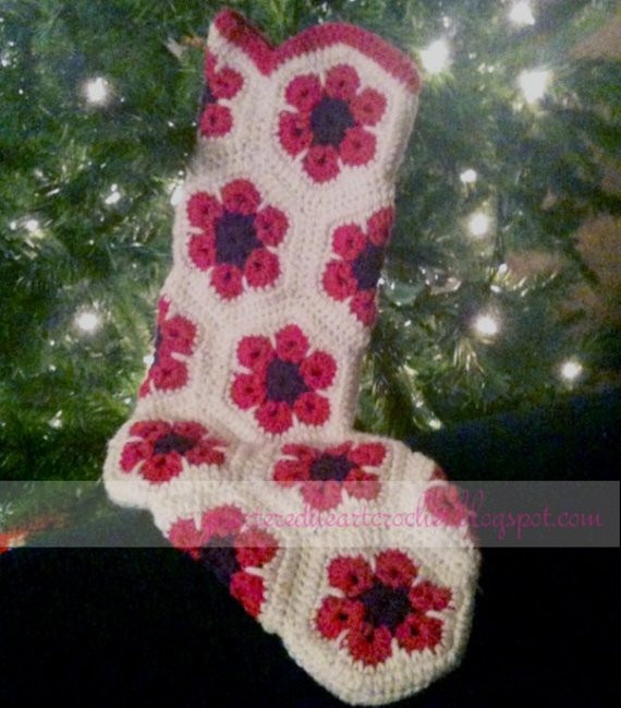 Fresh Items Similar to Crochet African Flower Christmas Stocking Granny Square Christmas Stocking Crochet Pattern Of Amazing 44 Pics Granny Square Christmas Stocking Crochet Pattern