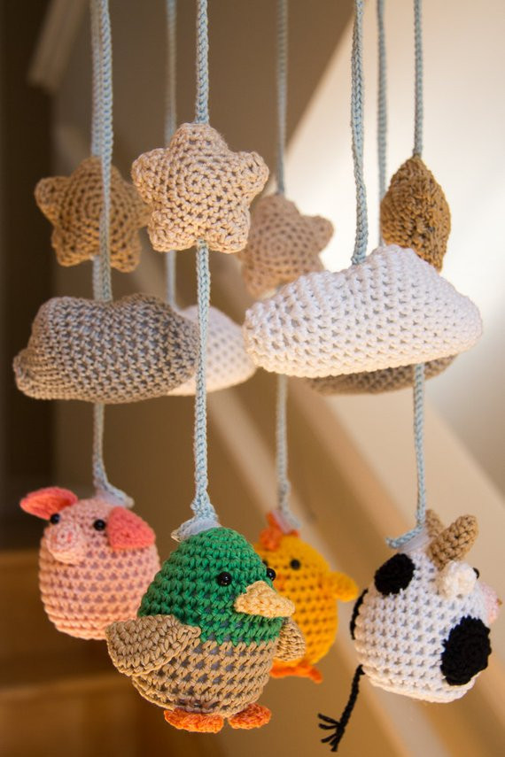 Items similar to Cute Crocheted Farm Animals Baby Mobile