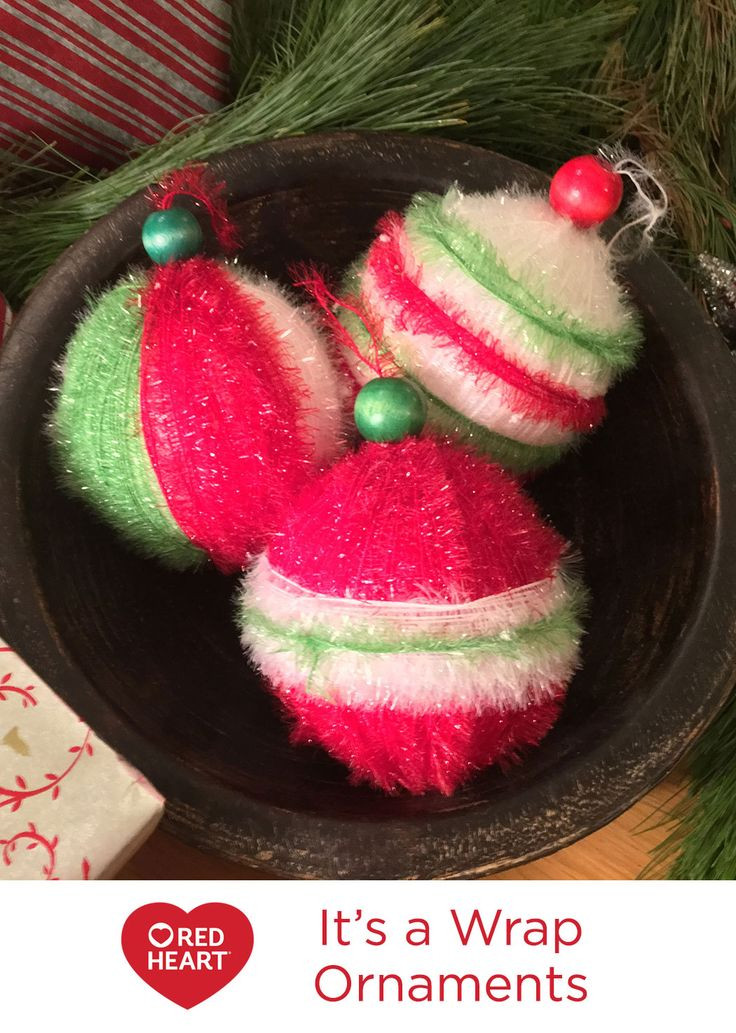 It's a Wrap Ornaments Free DIY Craft Pattern in Red Heart