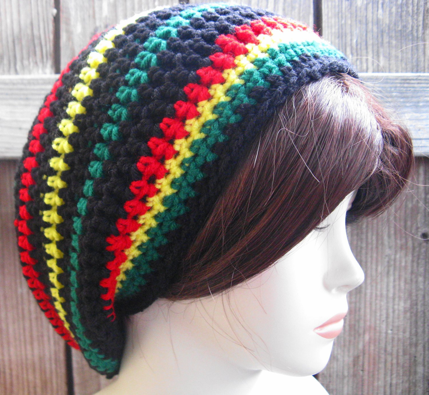 Jamaican Black Hippie Rasta Tam Slouchy Hat by WoolFashion