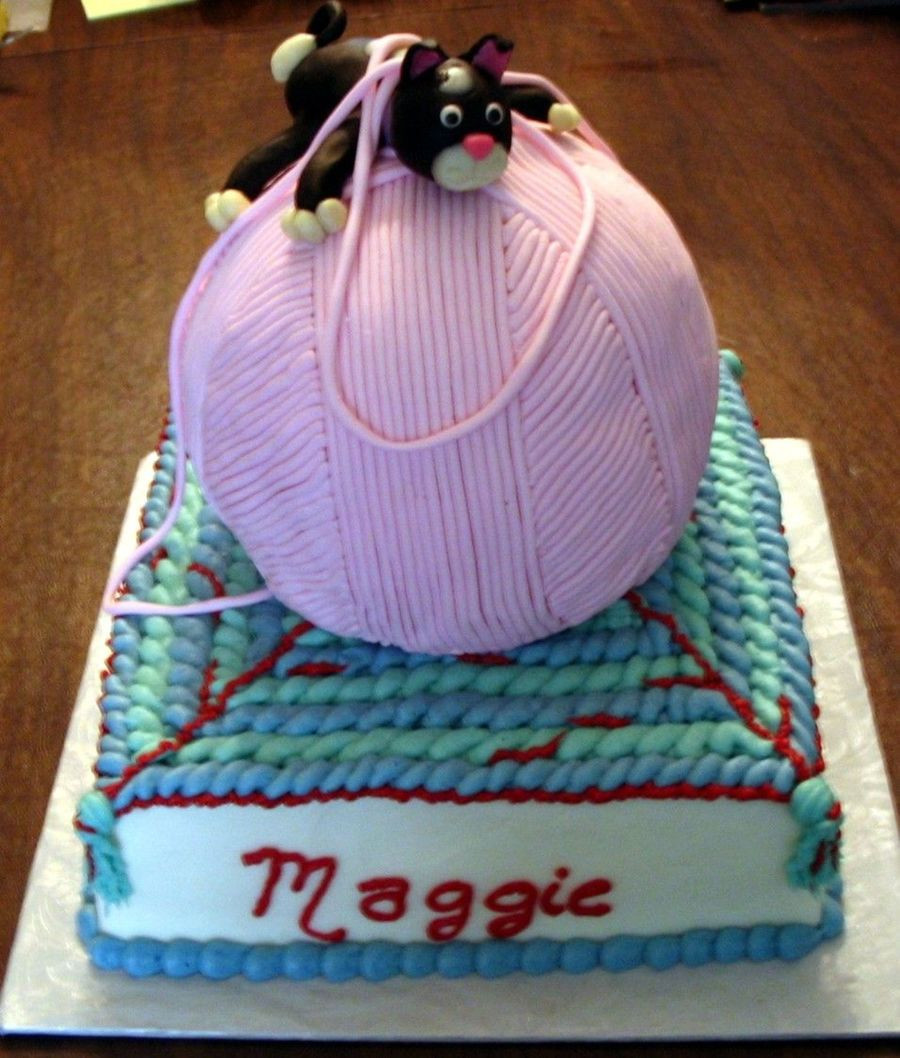 Kitty With Ball Yarn CakeCentral