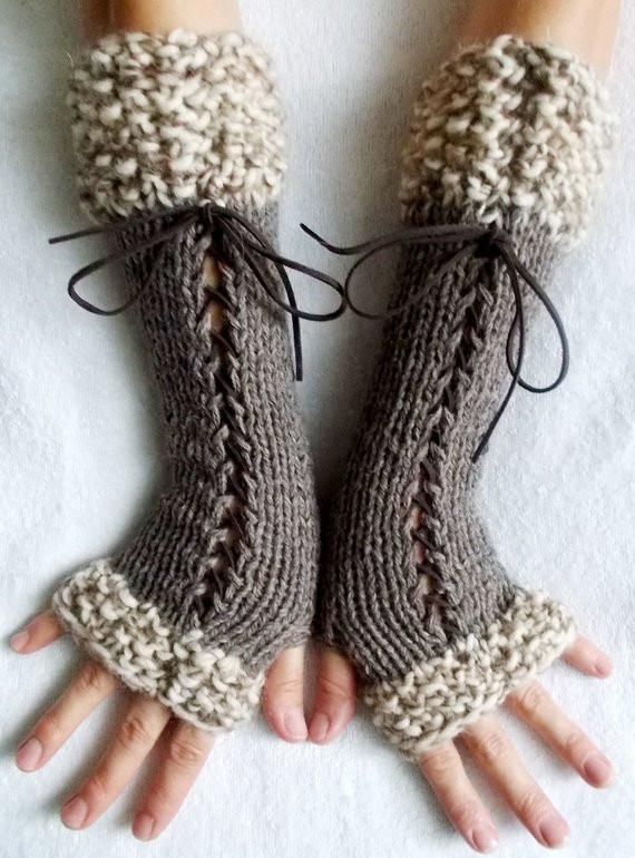 Fresh Knit Fingerless Gloves Long Wrist Warmers Taupe Brown Corset Knit Arm Warmers Of Brilliant 41 Images Knit Arm Warmers